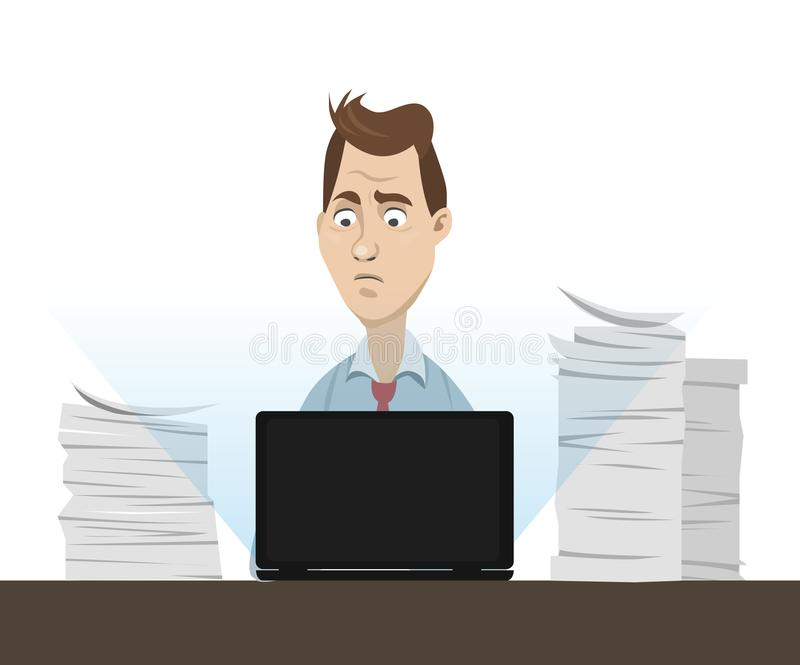 Office worker sitting behind his table working on laptop with a lot of papers and documents around - vector cartoon illustration.  stock illustration