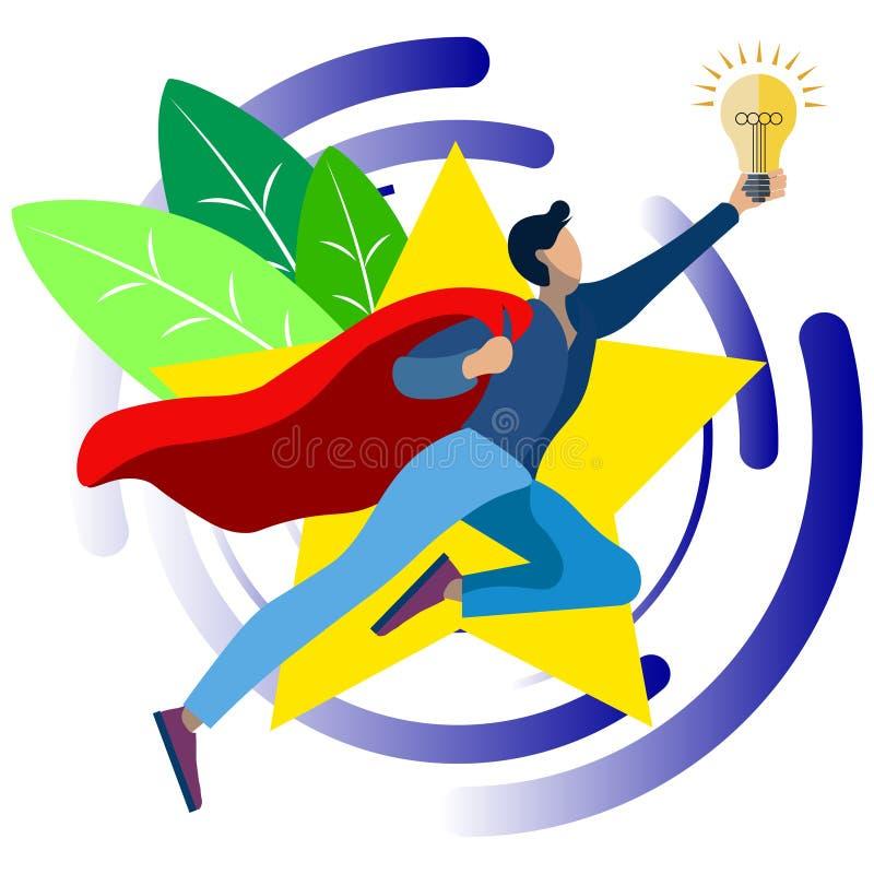 An office worker, a superhero, has a good idea. In minimalist style. Cartoon flat Vector royalty free illustration