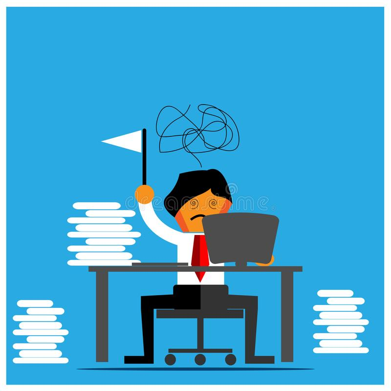 Office Worker surrender Vector Illustration. Flat design. EPS file available. see more images related stock illustration