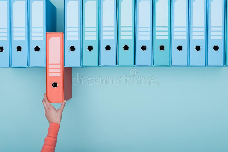 Office worker taking a folder in the archive stock photography