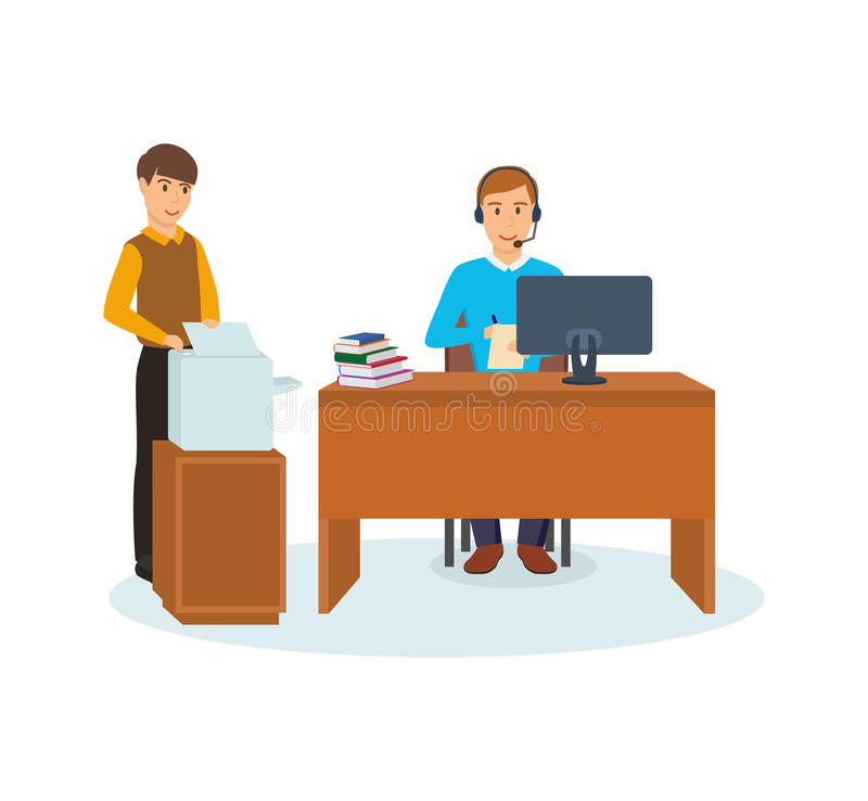 Office worker talks on microphone, colleague prints documents on printer. Group of office workers. Office worker talks on microphone, works behind computer, in stock illustration