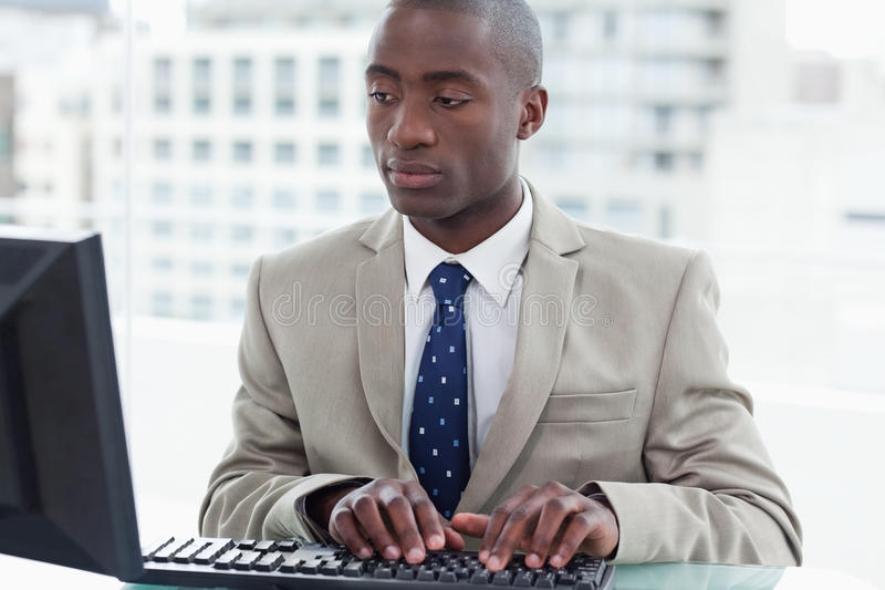 Office worker using a computer