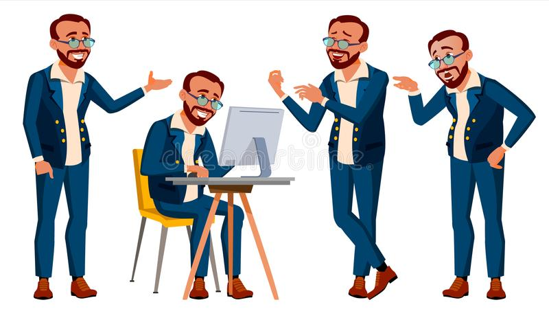 Office Worker Vector. Emotions, Various Gestures. In Action. Lifestyle. Turkish. Turk. Adult Entrepreneur Business Man royalty free illustration