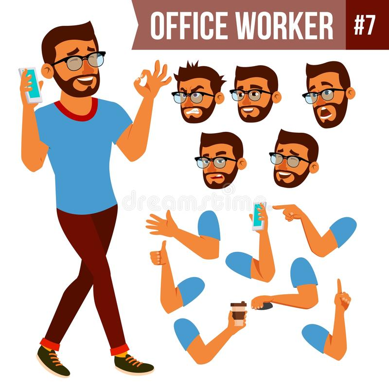 Office Worker Vector. Face Emotions, Various Gestures. Animation Creation Set. Business Man. Professional Cabinet stock illustration