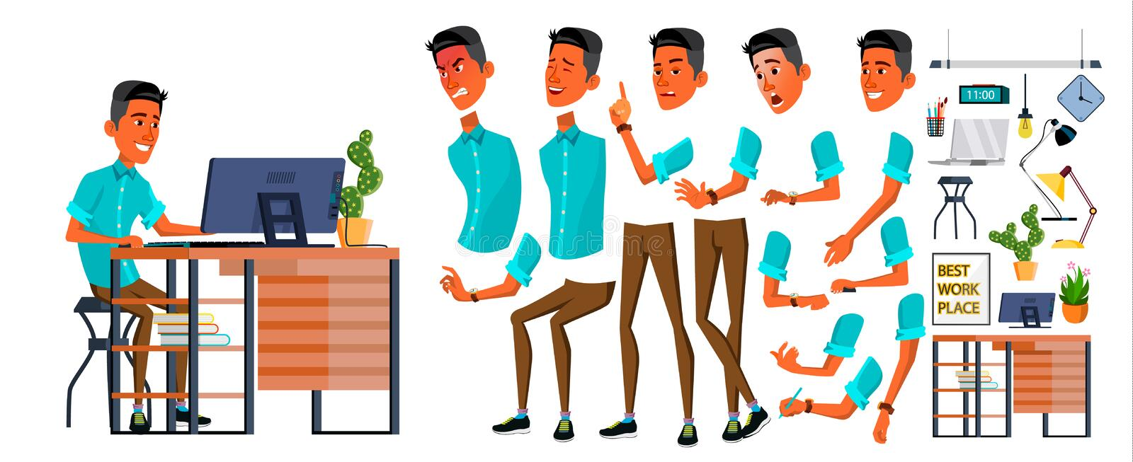 Office Worker Vector. Face Emotions, Various Gestures. Animation Creation Set. Business Person. Career. Modern Employee vector illustration