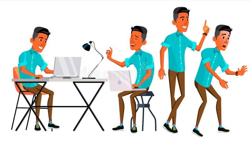 Office Worker Vector. Face Emotions, Various Gestures. Businessman Worker. Happy Job. Partner, Clerk, Servant, Employee stock illustration