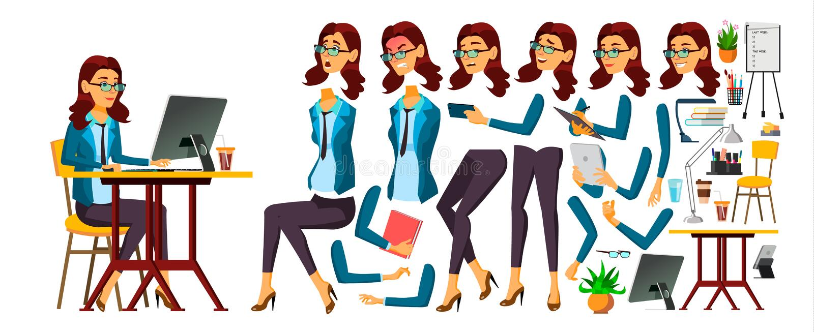 Office Worker Vector. Woman. Face Emotions, Various Gestures. Secretary, Accountant. Animation Creation Set. Isolated. Office Worker Vector. Woman. Face Emotions stock illustration