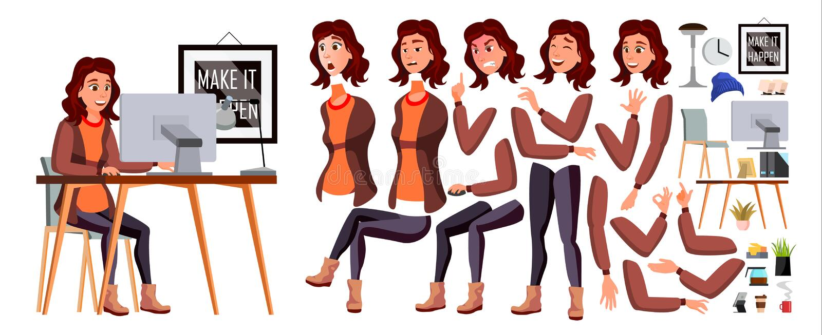 Office Worker Vector. Woman. Happy Clerk, Servant, Employee. Business Human. Face Emotions, Various Gestures. Animation. Creation Set Character Illustration royalty free illustration