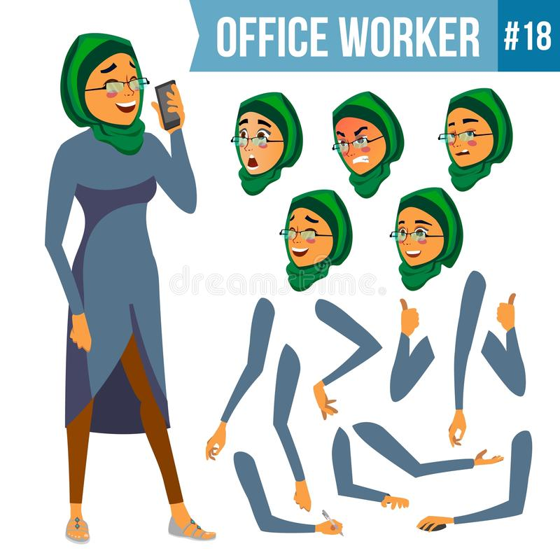 Office Worker Vector. Woman. Smiling Servant, Officer. Businessman Human. Lady Face Emotions, Various Gestures stock illustration