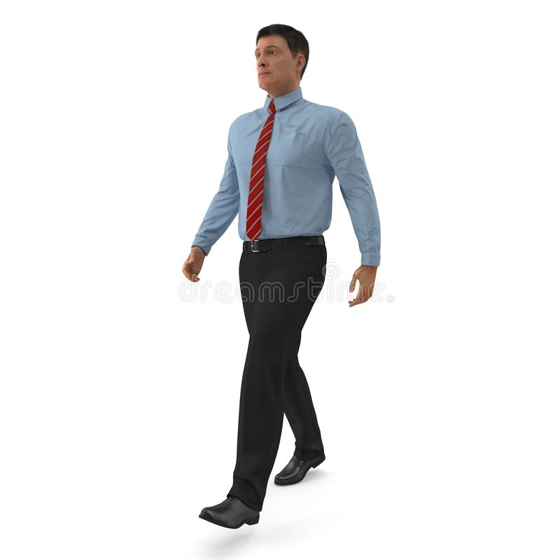 Office Worker Walking Pose On White Background. 3D Illustration, isolated royalty free illustration