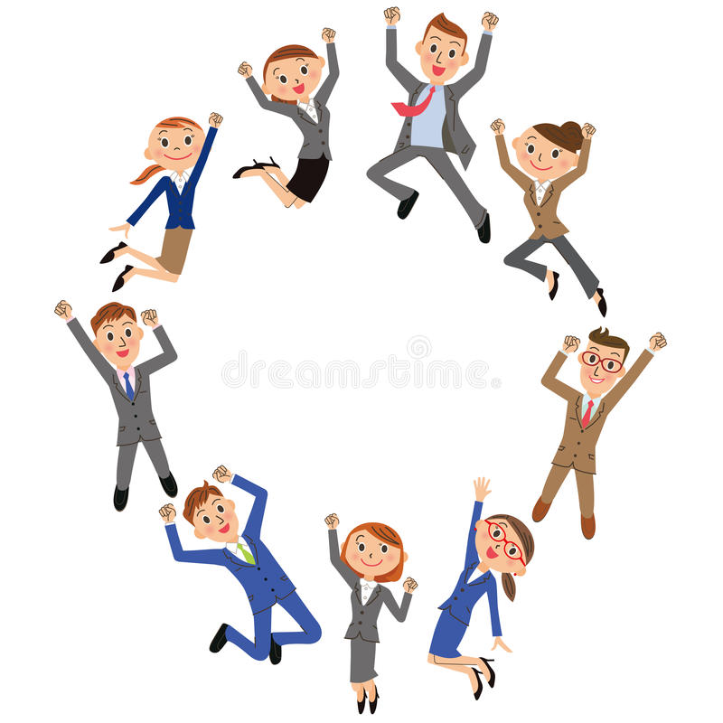 Office worker who jumps. The office worker who gains success, and jumps well royalty free illustration