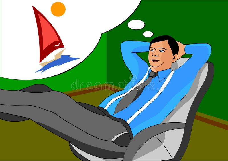 Office worker during work dreaming about vacation and the rest of the sea. Vector illustration royalty free illustration