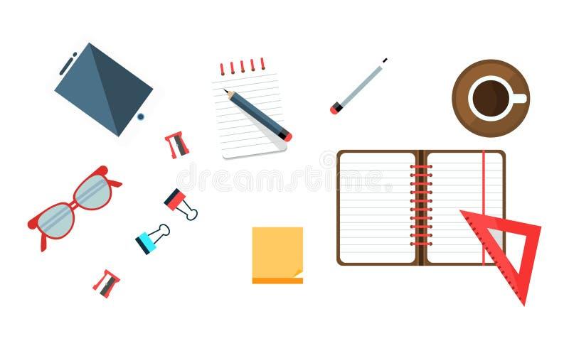 Office Worker Workplace Elements Set, Freelancer, Businessman Desk Top View Vector Illustration vector illustration