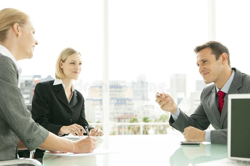 Office workers at a business meeting royalty free stock images