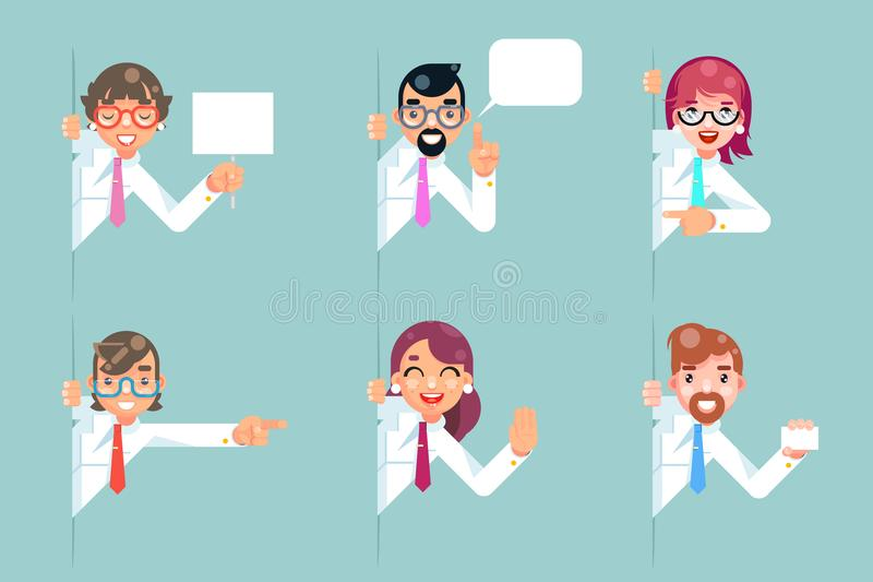 Office workers cartoon support help business consultation advice looking out corner characters set solution flat design vector illustration