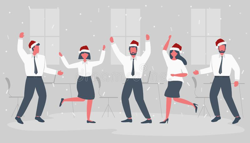 Office workers are celebrating the Christmas. Happy employees in Santa`s hats are dancing. Business people in the gray office room. Funky flat style. Vector vector illustration