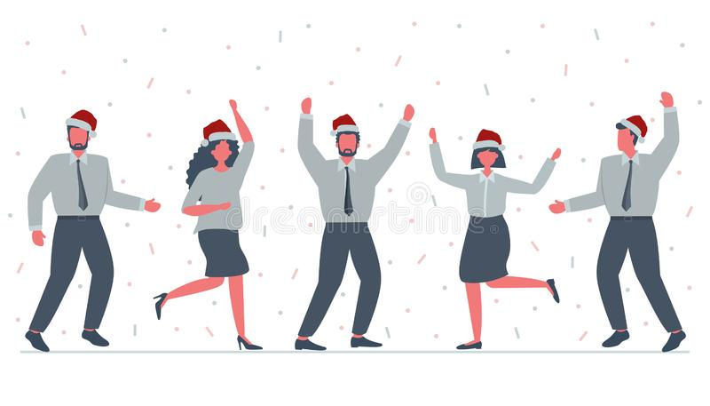Office workers are celebrating the Christmas. Happy employees in Santa`s hats are dancing. Vector illustration stock illustration