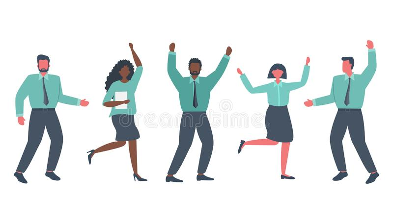 Office workers are celebrating the victory. Happy employees are dancing and jumping. International group of business people stock illustration