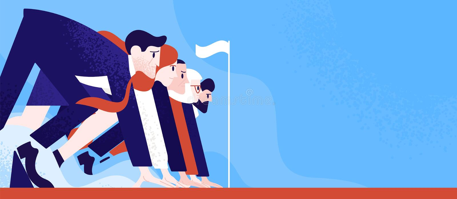 Office workers or clerks standing ready on start line before race or sprint. Business competition or rivalry between. Employees or colleagues. Colorful vector stock illustration