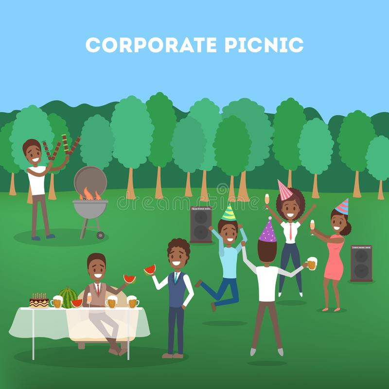 Office workers at the corporate bbq party royalty free illustration