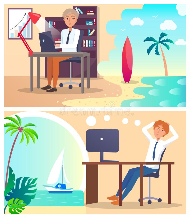 Office Workers Daydream about Vacation Abroad Set. Employees sit at desk with computers and plan to travel on tropical island vector illustration royalty free illustration