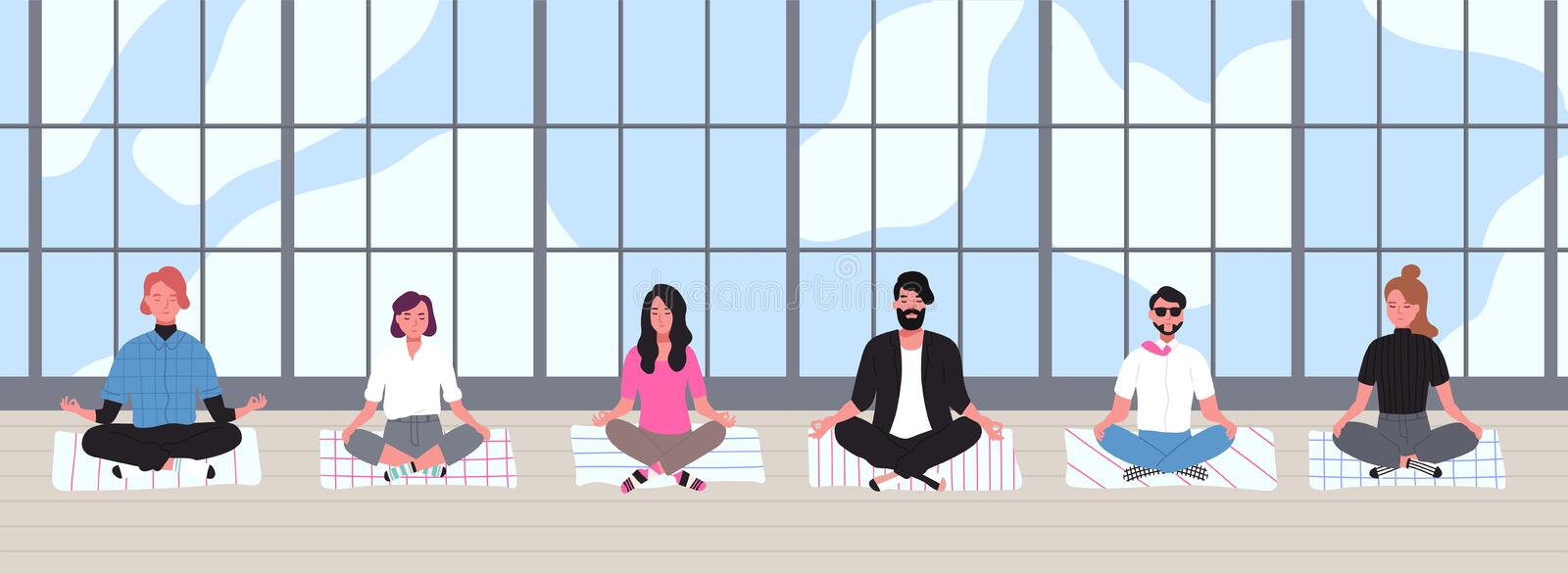 Office workers dressed in smart clothes sit with crossed legs and meditate against panoramic window on background royalty free illustration