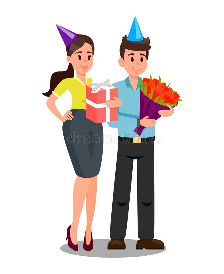 Office Workers with Gifts Vector Illustration vector illustration