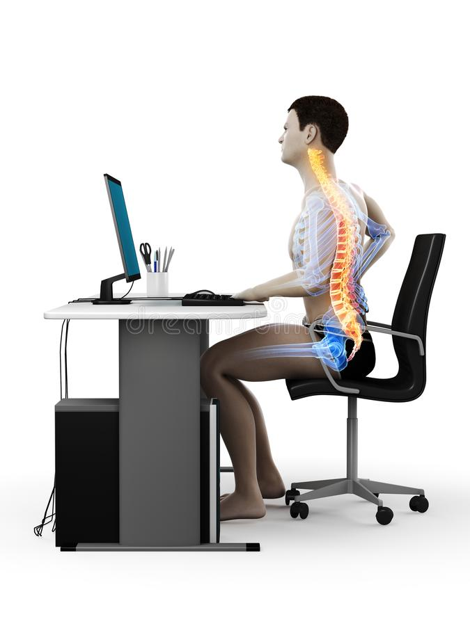 An office workers painful back. 3d rendered medically accurate illustration of an office workers painful back vector illustration