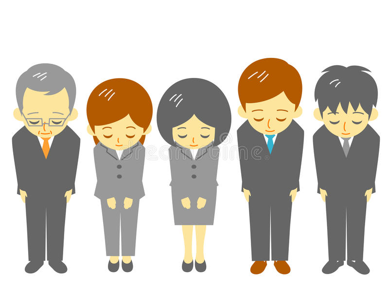 Office workers, polite bow. File stock illustration