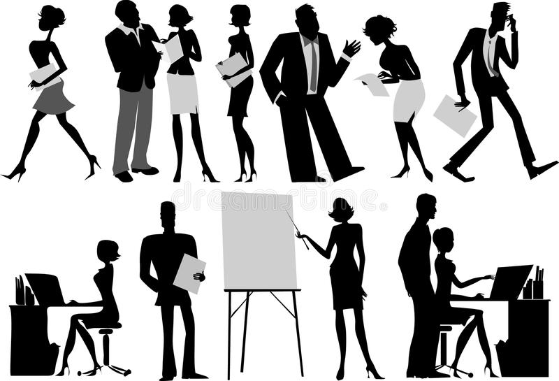 Office workers silhouettes vector illustration