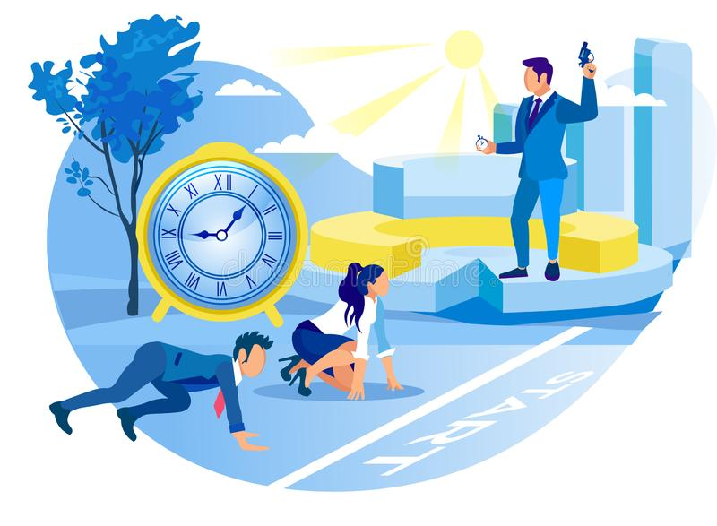 Office Workers Start Project. Competitive Process. Office Workers Start Project. Competitive Process in Business. Achive Goal. Overcome Obstacles. Competition stock illustration