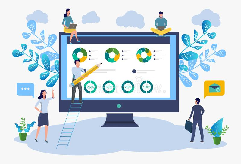 Office workers study infographics, analysis of business growth scale. vector illustration of business. Analytical data vector illustration