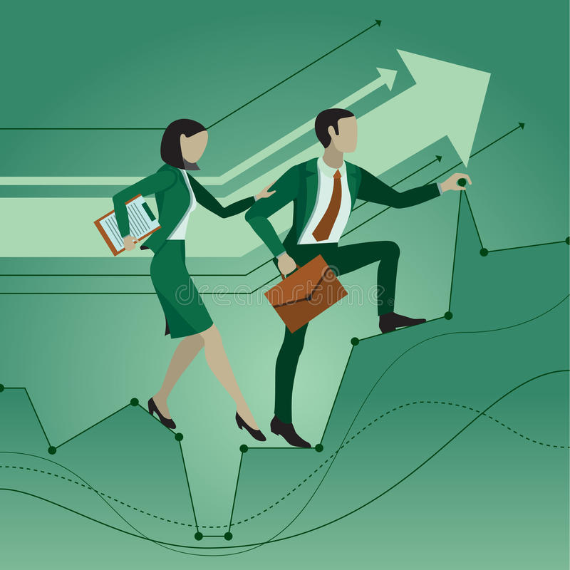 Office workers. Two employees help each other making their way to the goal, overcoming obstacles. Mutual assistance. Business conc. Ept vector illustration