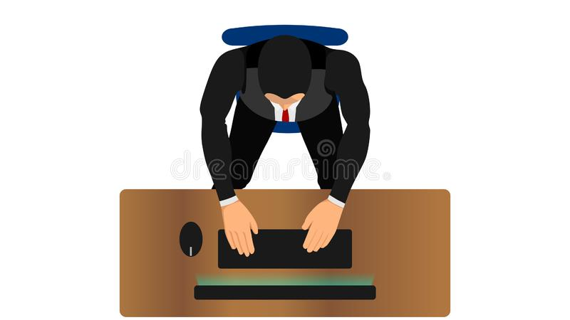 Office workers are typing or writing with a computer stock illustration
