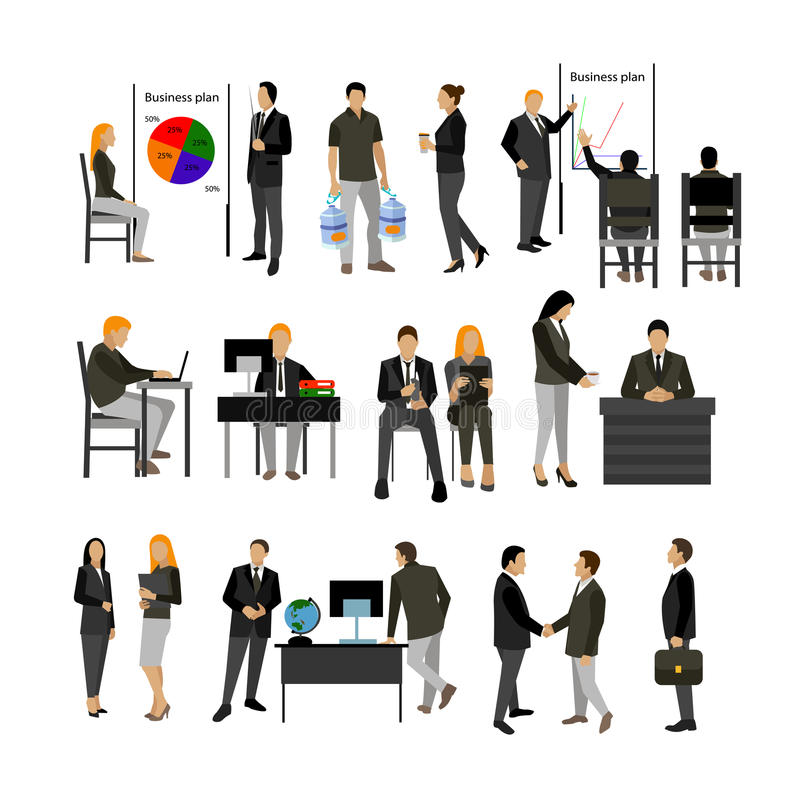 Office workers vector set. royalty free illustration