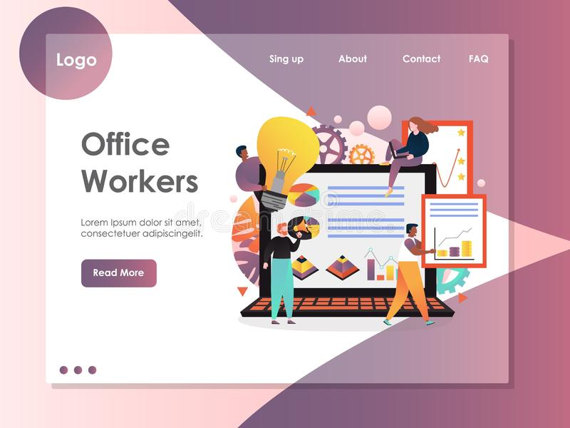 Office workers vector website landing page design template. Office workers vector website template, web page and landing page design for website and mobile site stock illustration