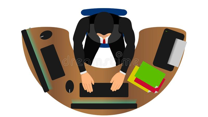 Office workers work with multiple functions. Illustration of work efficiency. busy work. EPS10 vector file royalty free illustration