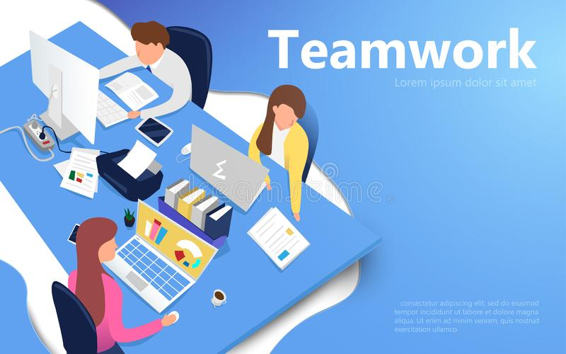 Office workers at work place. Teamwork concept. Flat isometric vector royalty free illustration