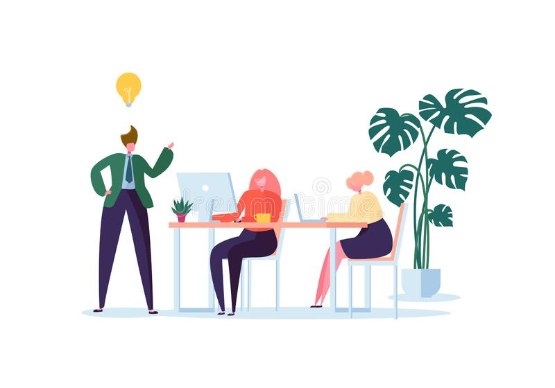 Office Workers Working with Computers. Flat Business People Characters with Laptop. Team Work Organization Concept stock illustration