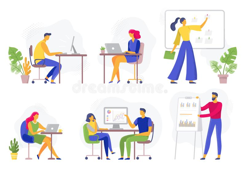 Office workflow. Working business people, remote teamwork and workers team collaboration flat vector illustration set vector illustration