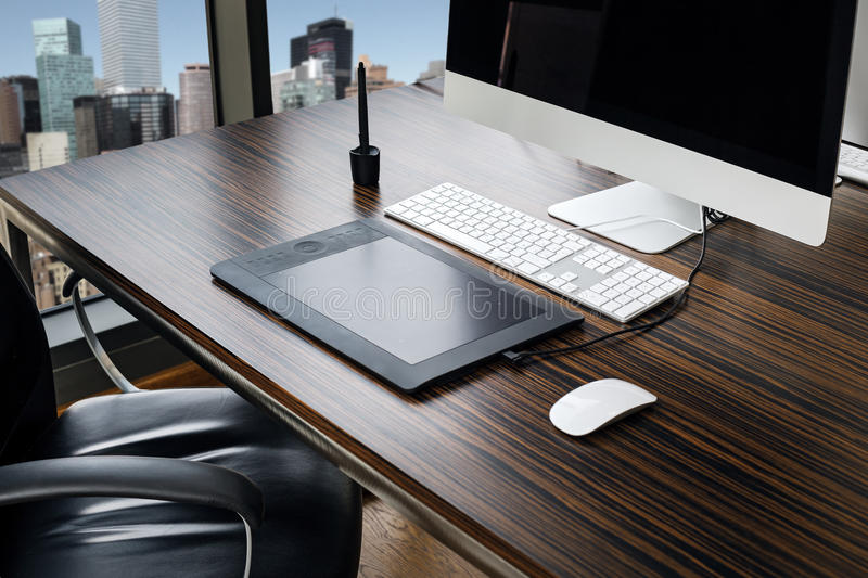Office working place. With window, close-up view royalty free stock photography