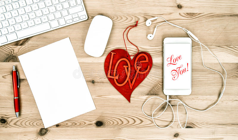 Office Working Place with Red Heart. Valentines Day. Love You stock photos