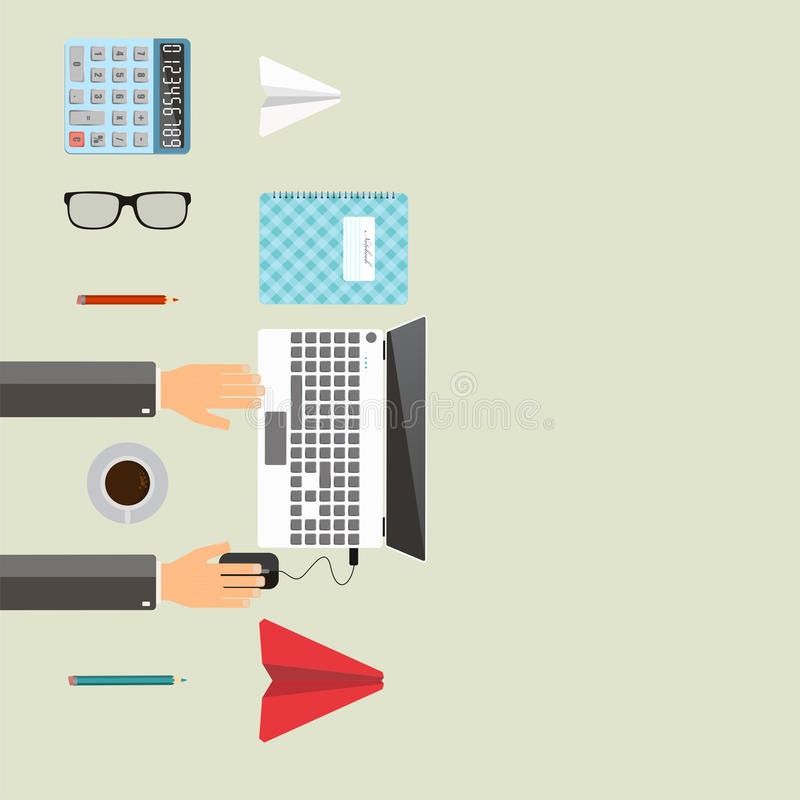 Office workplace. Businessman working with laptop on table. Place for text. Top view. Flat vector illustration. vector illustration