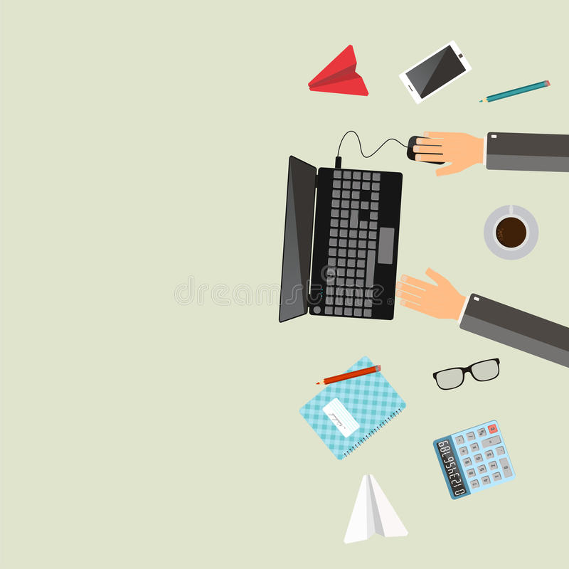 Office workplace. Businessman working with laptop on table. royalty free illustration