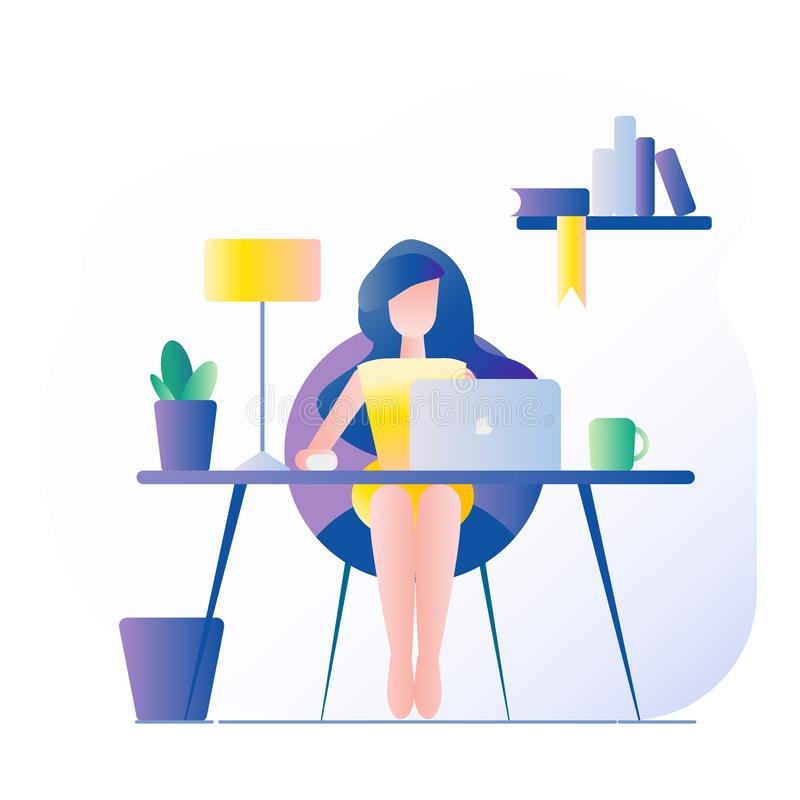 Office workplace. The girl sits at the table. On the table is a laptop, lamp, cup, cactus. Vector illustration with gradient fill royalty free illustration