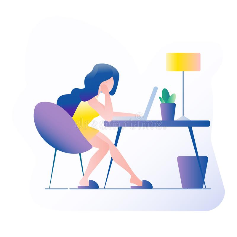 Office workplace. The girl sits at the table. On the table is a laptop, lamp, cup, cactus. Vector illustration with gradient fill royalty free stock photos