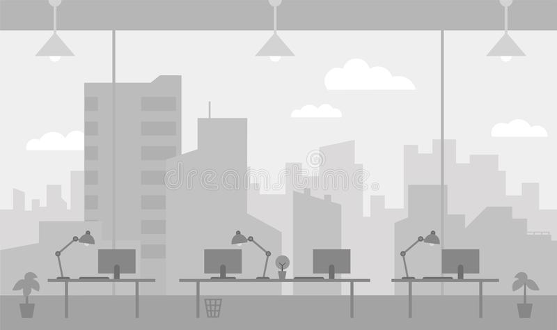 Office workplace gray color background room large window with splendid view skyscrapers city. Flat color vector. Office workplace with view gray color background vector illustration