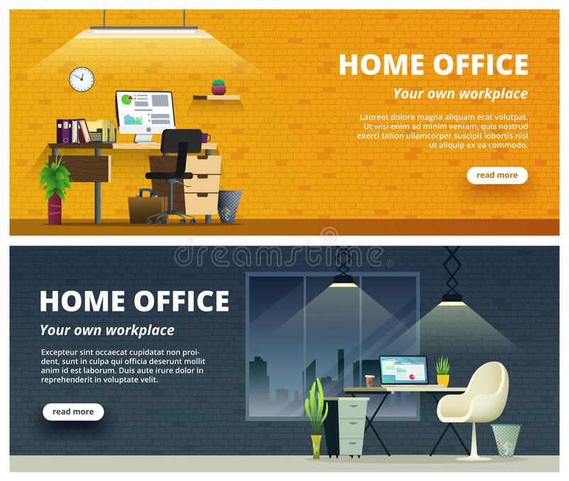 Office workplace interior design banner. Home office concept illustration. royalty free illustration