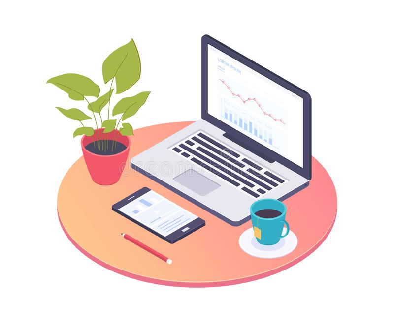 Office workplace - modern vector colorful isometric illustration vector illustration