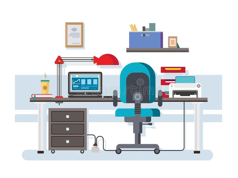 Office workplace. Interior creative, coffee and printer, furniture and folder, shelf and lamp, chair and laptop, flat workspace illustration